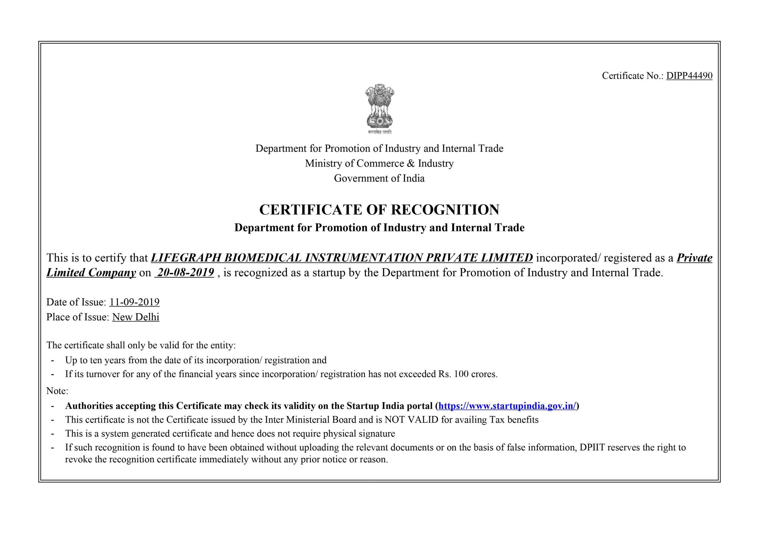 Dipp Certificate